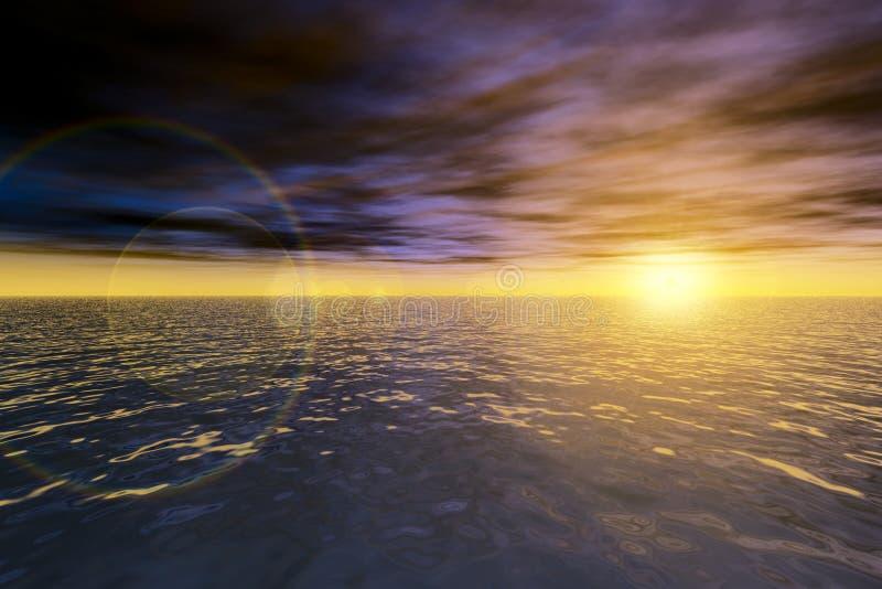 魔术海洋海景日落 皇族释放例证