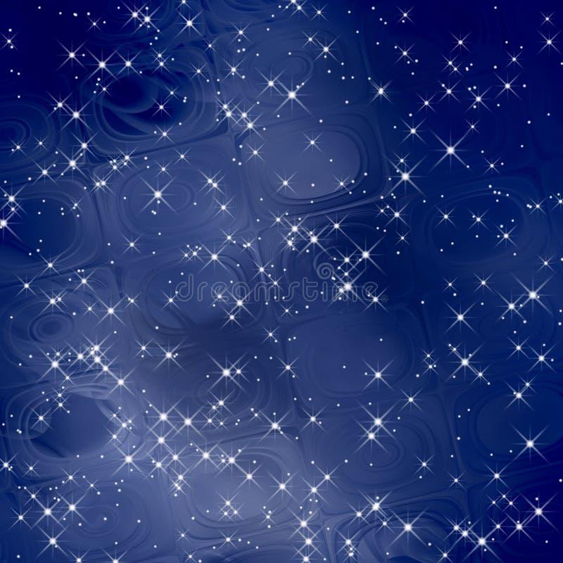 魔术背景蓝色缩放比例/星形 库存例证