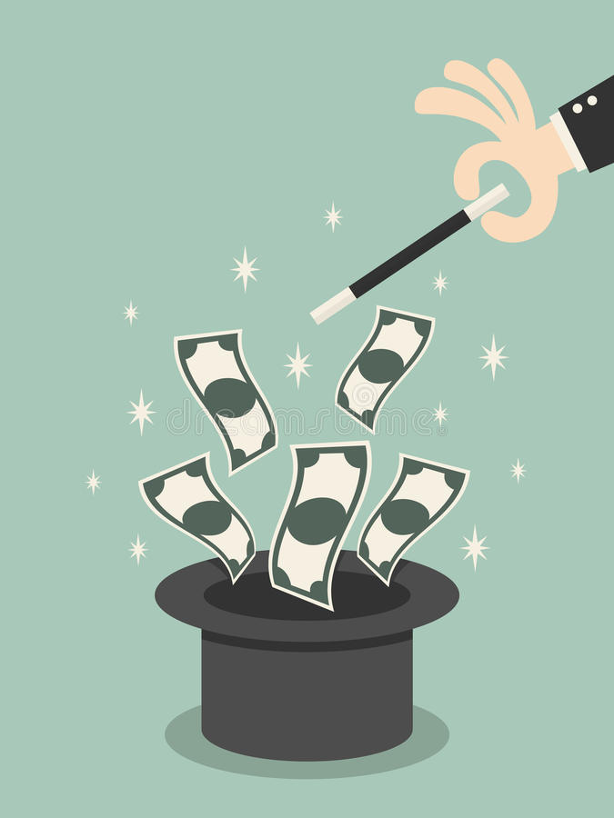 魔术金钱  向量例证