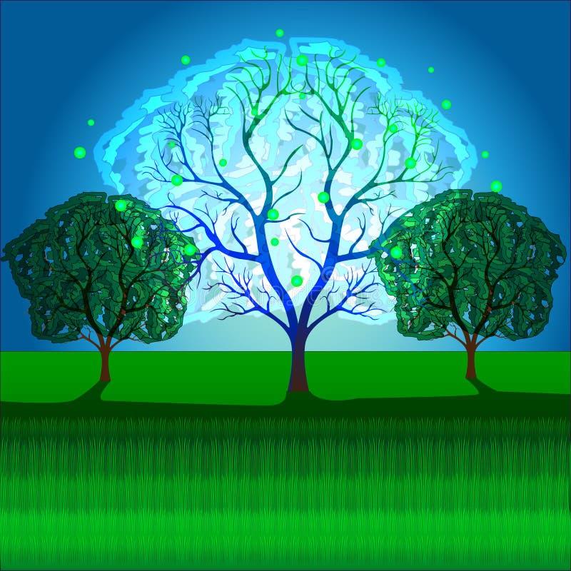 魔术,幻想,神秘的树 库存例证
