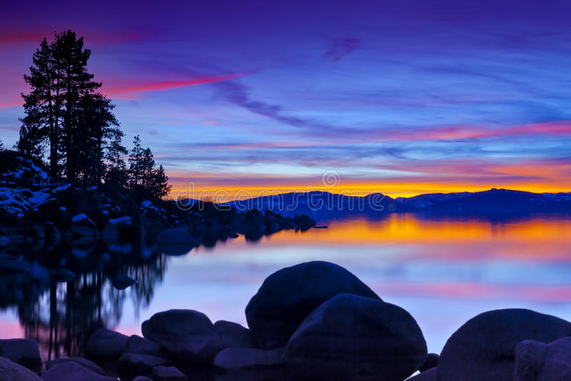 魔术Tahoe日落 图库摄影