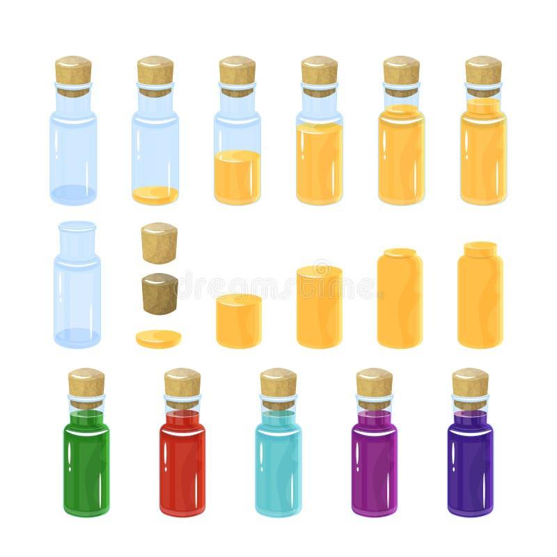 魔药瓶 五颜六色的集 在瓶倾吐了不同量蠕动 免版税库存图片