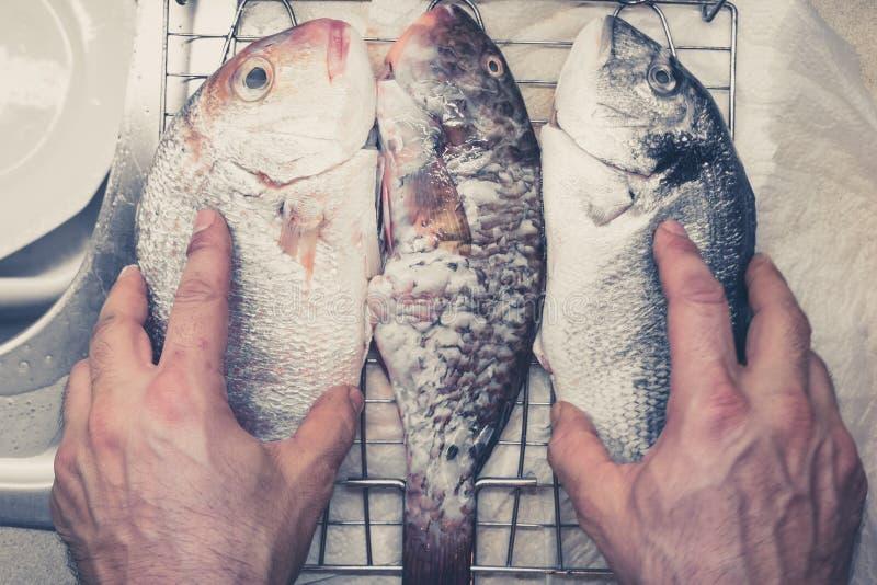 鱼为烤肉pov做准备,葡萄酒过滤器 图库摄影