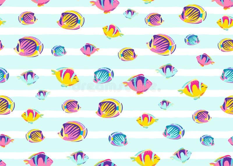 鱼仿造无缝的传染媒介例证 儿童印刷品的不尽的动画片颜色海海洋背景与镶边白色 向量例证