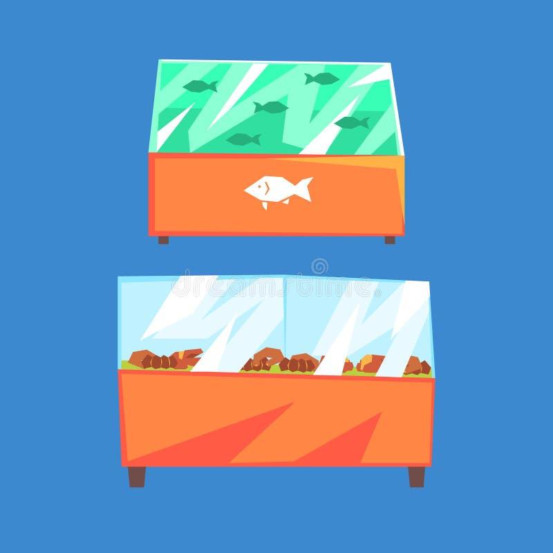 鱼制品冰箱,在超级市场冰箱的海鲜,传染媒介例证 皇族释放例证