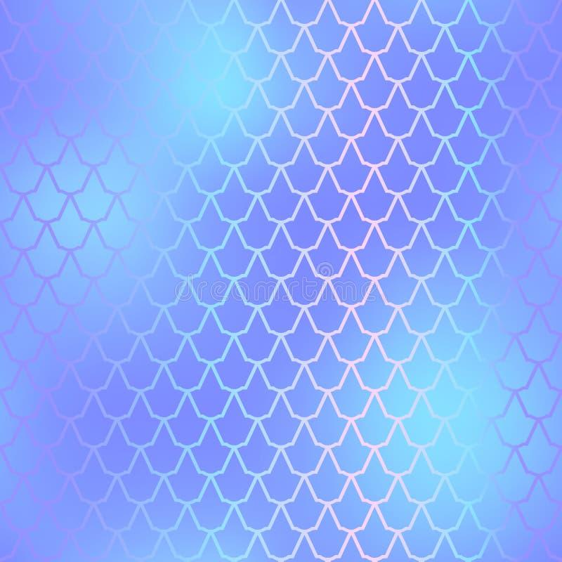 鱼剥皮无缝的样式 美人鱼标度背景 蓝色fishscale 向量例证