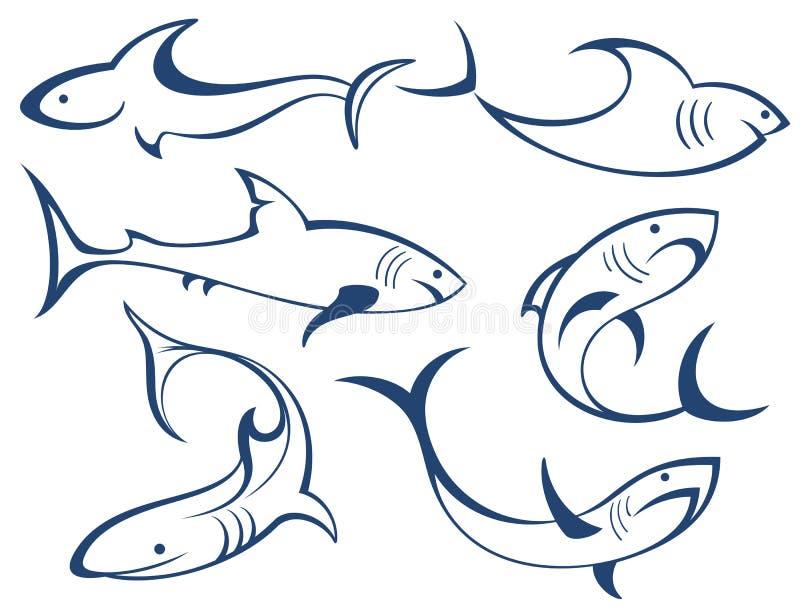 鱼剪影。鲨鱼 库存例证