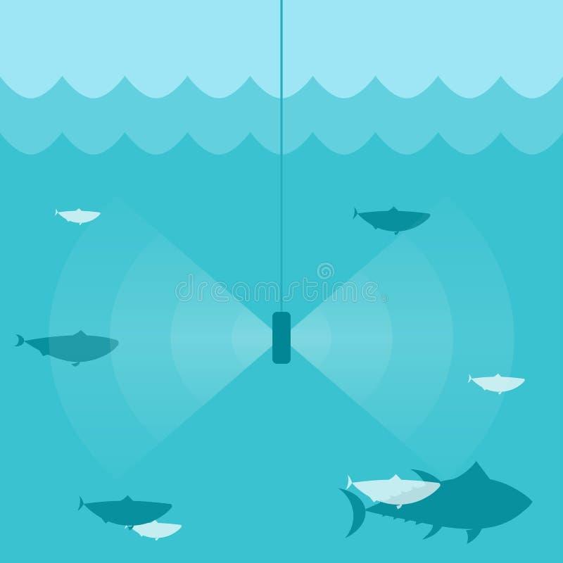 鱼发现者生波探侧器 向量例证