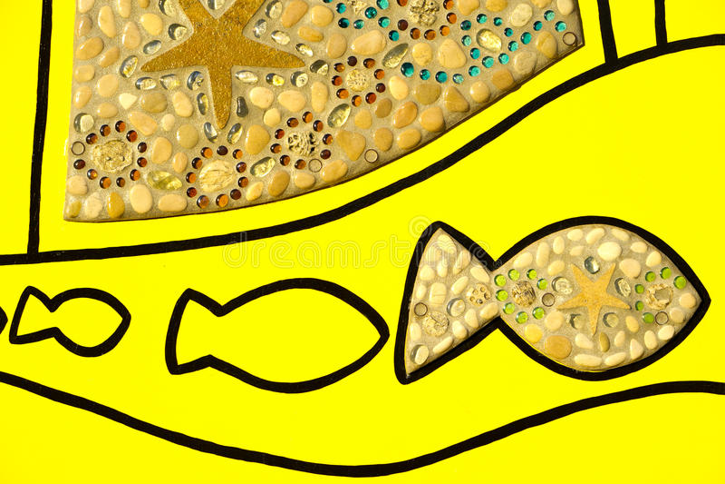 鱼和壳艺术 库存图片