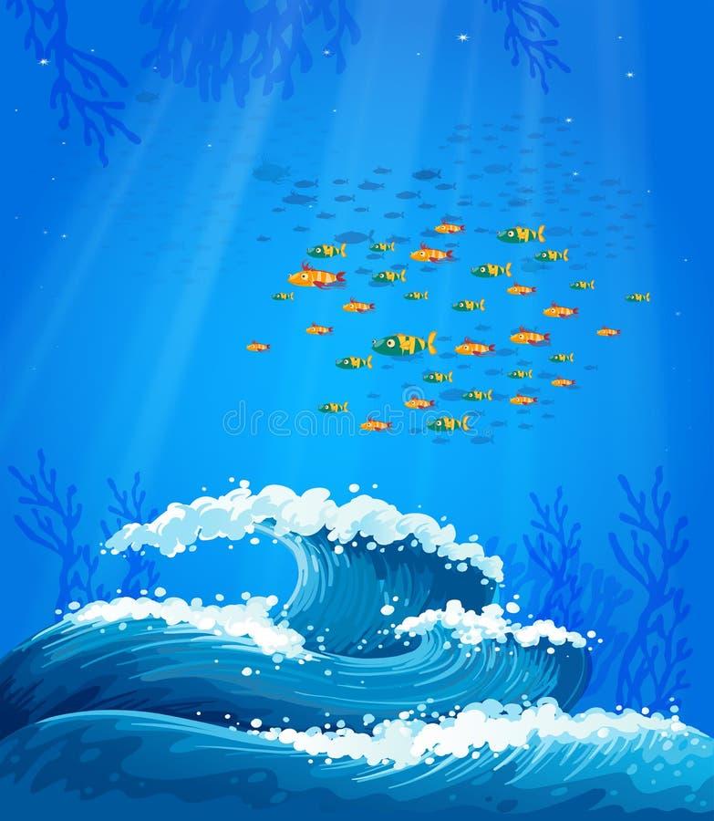 鱼和波浪学校  库存例证