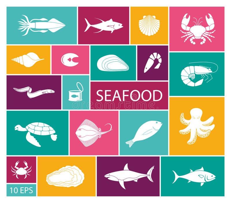 鱼和海鲜象在平的样式 向量例证
