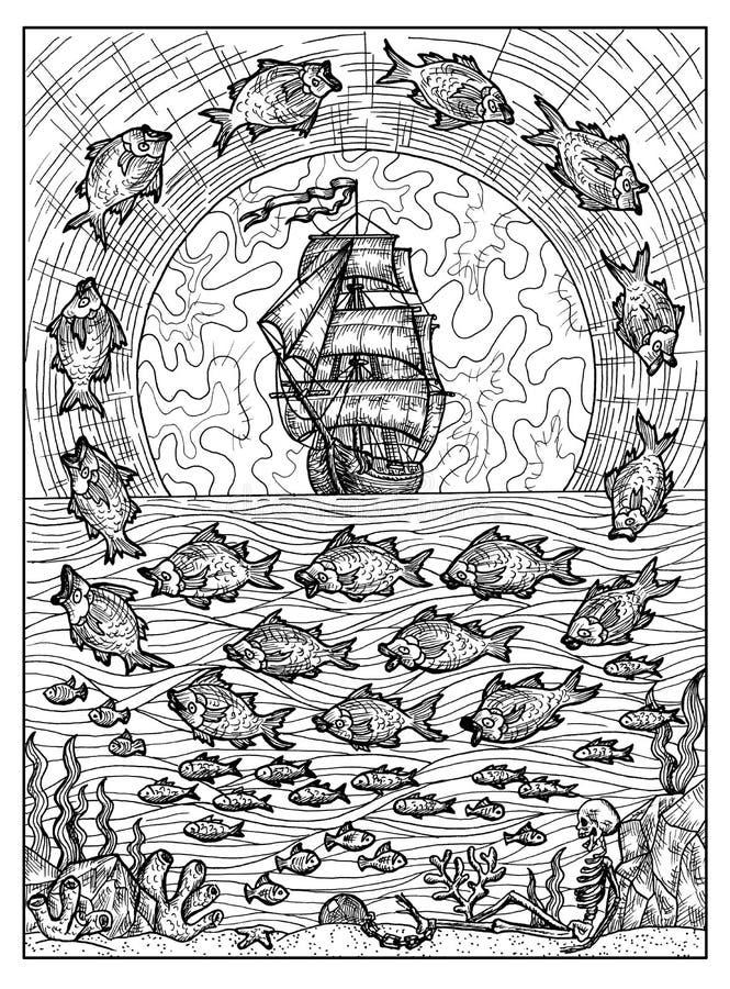 鱼和船 Lenormand oracle占卜用的纸牌的黑白神秘的概念 皇族释放例证