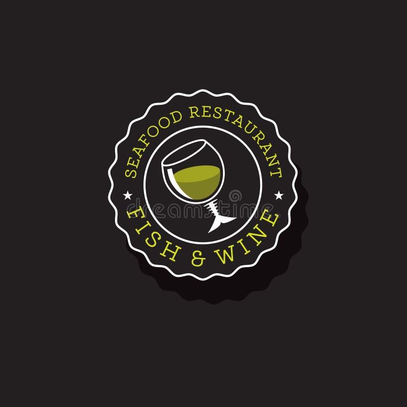 鱼和酒商标 海鲜餐馆 有鱼骨的葡萄酒杯 皇族释放例证