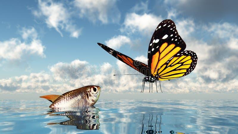 鱼和蝴蝶 皇族释放例证