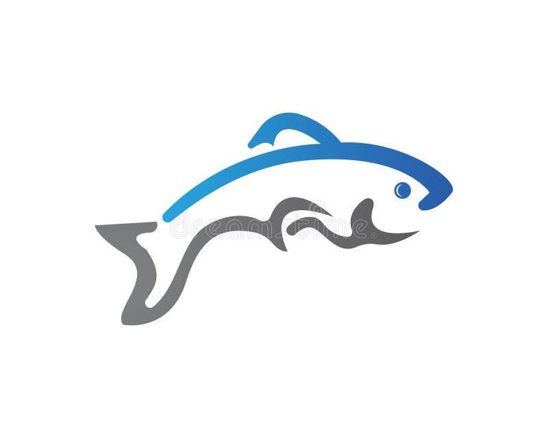 鱼商标模板 渔俱乐部的创造性的传染媒介标志或 向量例证