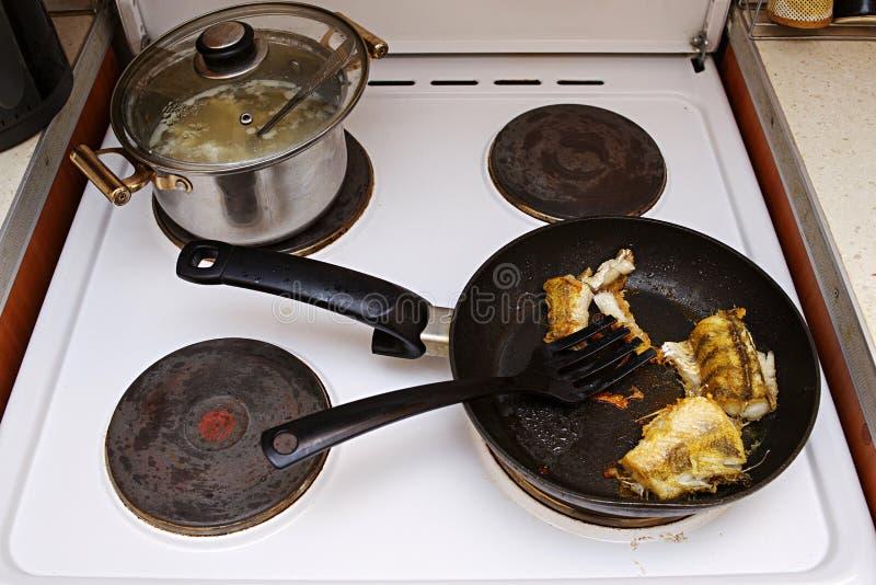 鱼在一个电火炉的一个煎锅烹调了 盒盖是开放的 不健康的多脂食物 图库摄影