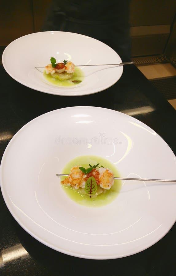 鱼在别墅Crespi的串开胃菜 免版税库存照片