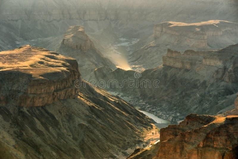 鱼在日落光的河峡谷 免版税库存照片