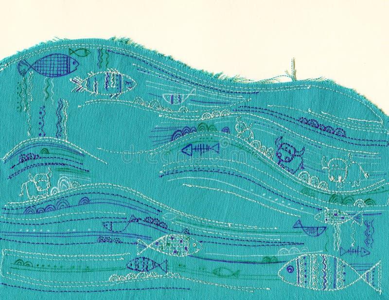 鱼在海洋,难看的东西样式明信片的装饰织品应用例证,刺绣 图库摄影