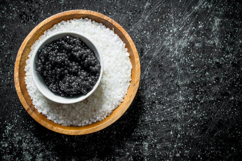 鱼子酱和盐在碗 免版税图库摄影