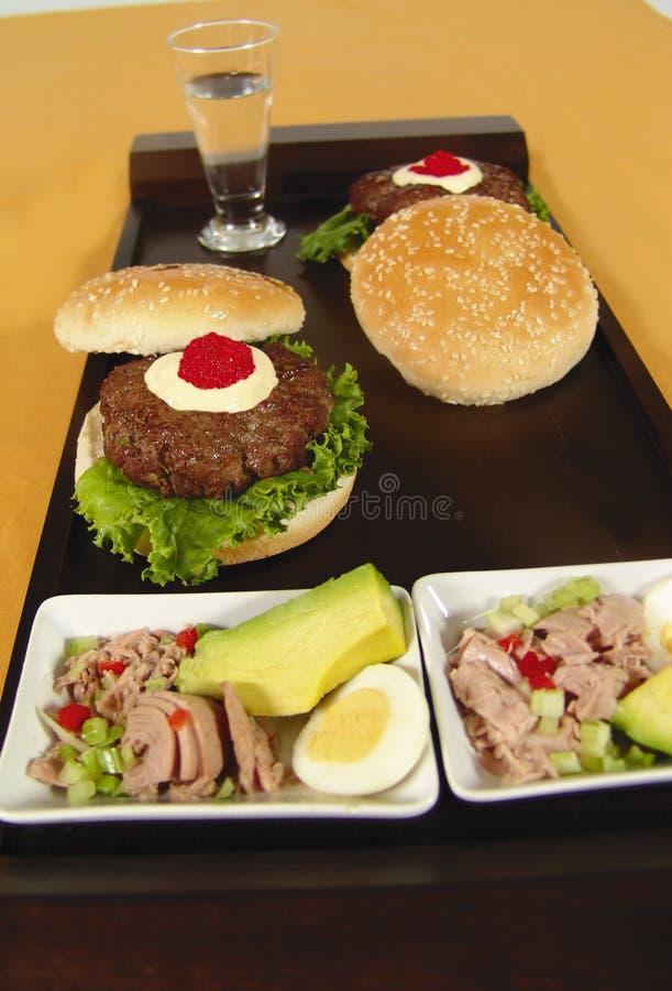 鱼子酱汉堡包 库存照片