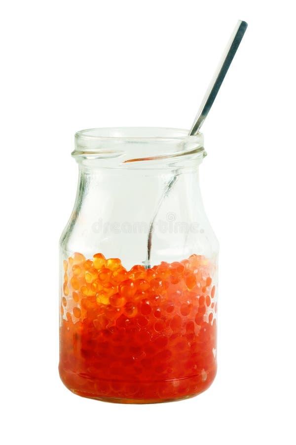 鱼子酱瓶子红色 免版税库存照片