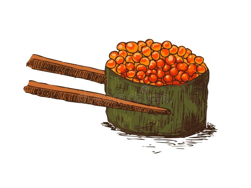 鱼子酱筷子卷 皇族释放例证
