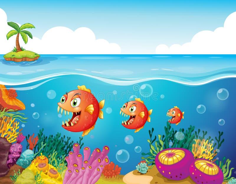 鱼学校在珊瑚礁附近的 皇族释放例证