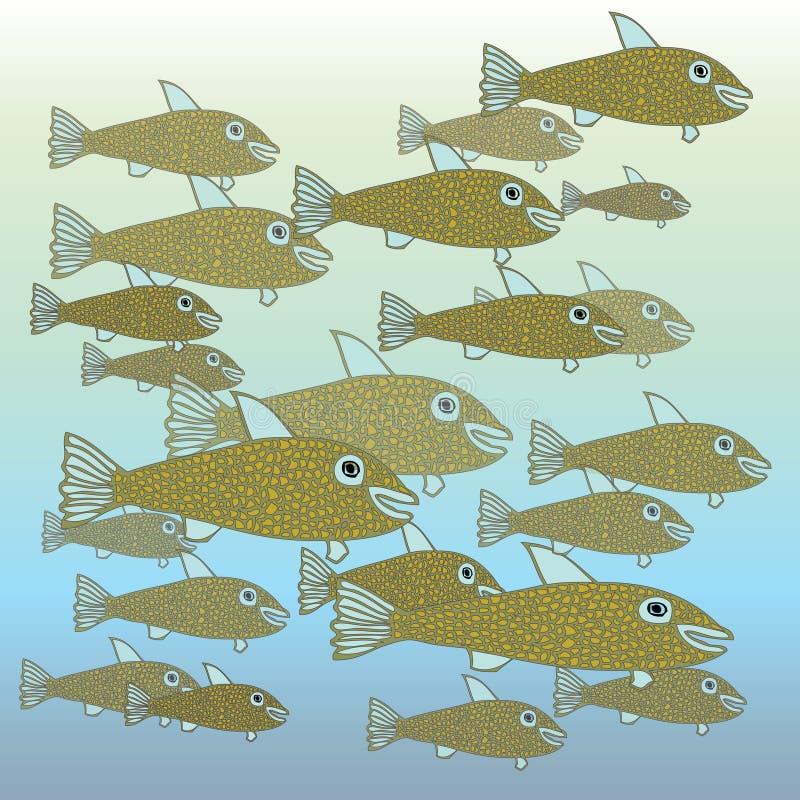鱼学校 向量例证