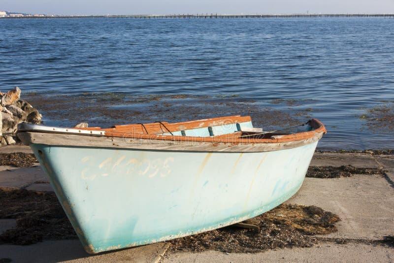 鱼小船在布齐盖港口 库存图片