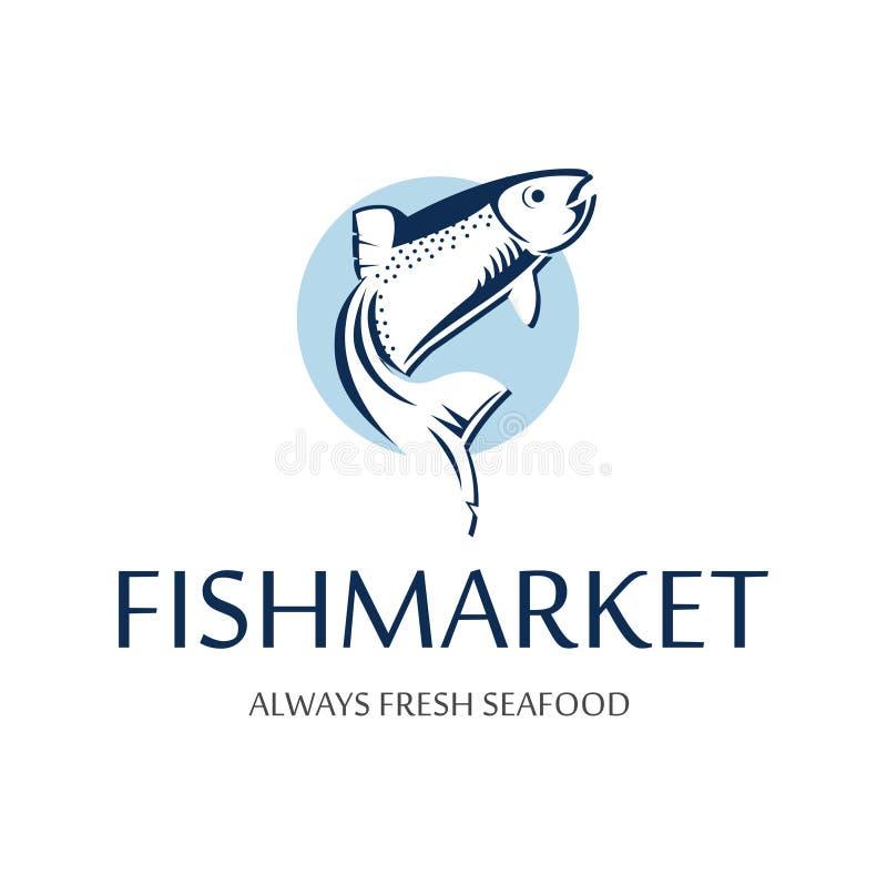 鱼市商标 三文鱼蓝色剪影减速火箭的徽章  海鲜餐馆的葡萄酒优质标签 向量例证