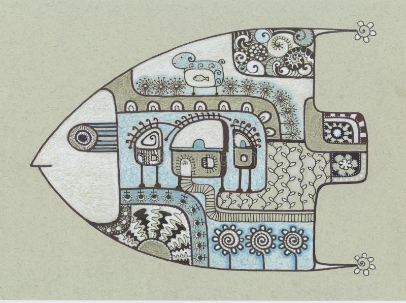 鱼平底船 向量例证