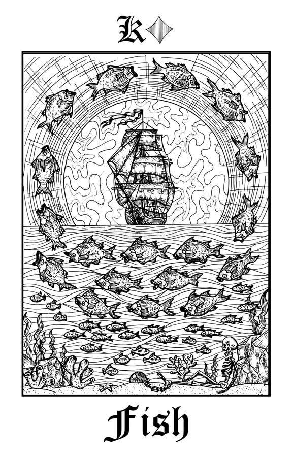 鱼或船标志 从传染媒介Lenormand哥特式奥秘oracle甲板的占卜用的纸牌 库存例证