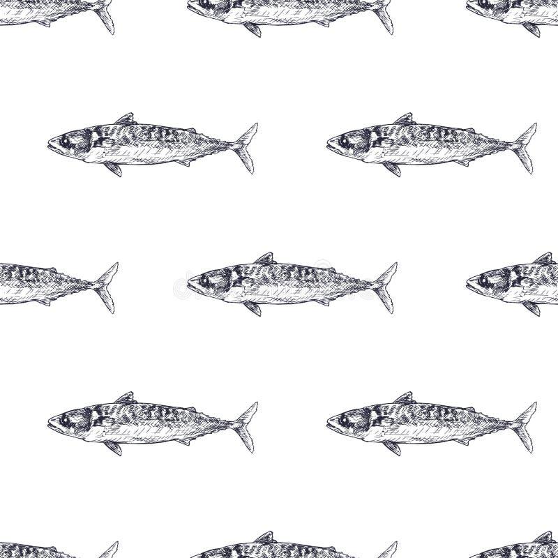 鱼手拉的无缝的啪答声 剪影鱼 皇族释放例证