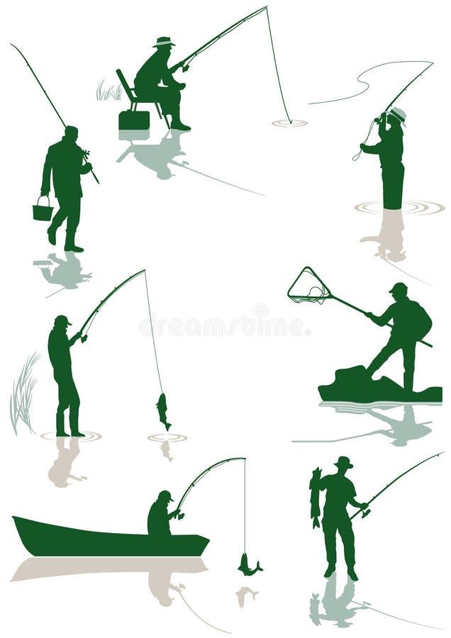 鱼捕鱼 向量例证
