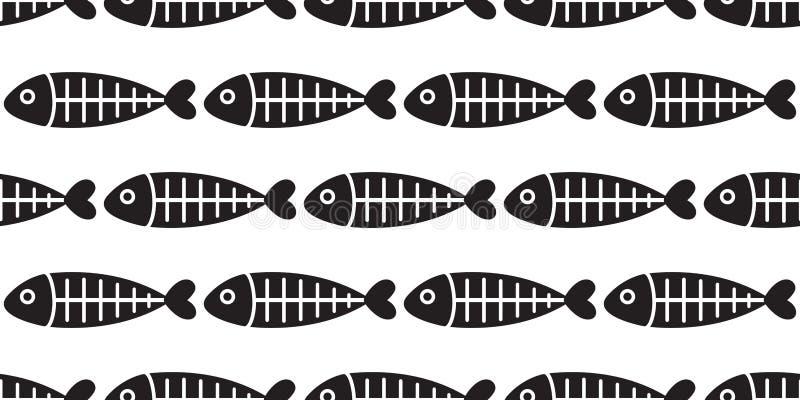 鱼无缝的样式传染媒介鱼骨鲨鱼飞翅三文鱼隔绝了重复背景墙纸背景 向量例证