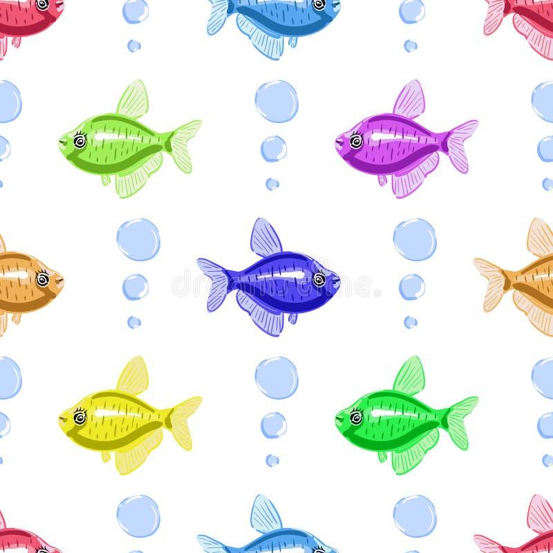 鱼无缝的样式 动画片样式鱼 免版税库存照片