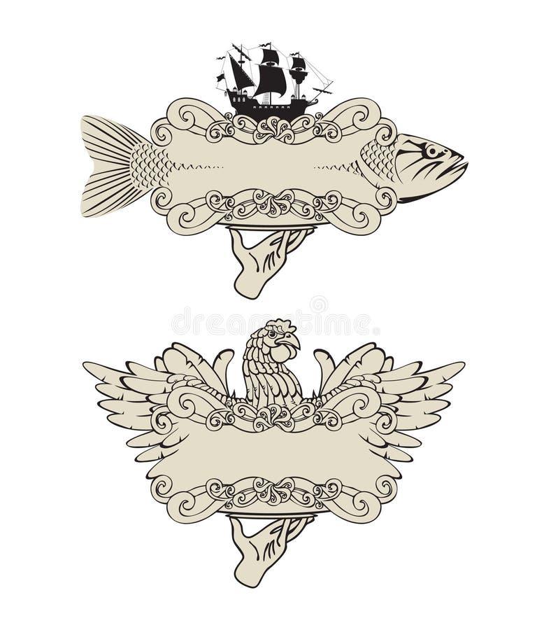 鱼标记肉家禽 皇族释放例证