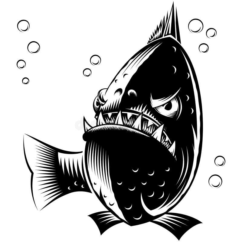 鱼比拉鱼墨水手图画纹身花刺印刷品字符动画片 库存例证