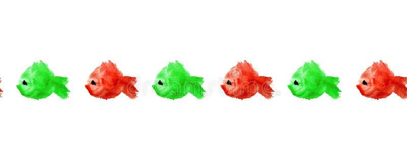鱼水彩红色和绿色剪影无缝的样式边界或框架与黑眼圈的在被隔绝的白色背景  皇族释放例证
