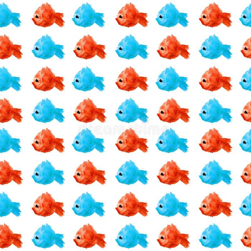 鱼水彩红色蓝色剪影的无缝的样式与黑眼圈的在以污点的形式被隔绝的白色背景 向量例证