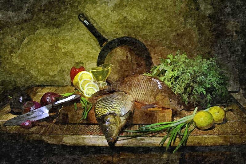 鱼汤的鲜鱼 仍然厨房生活 在纸的绘的湿水彩 天真艺术 在pap的画的水彩 库存例证