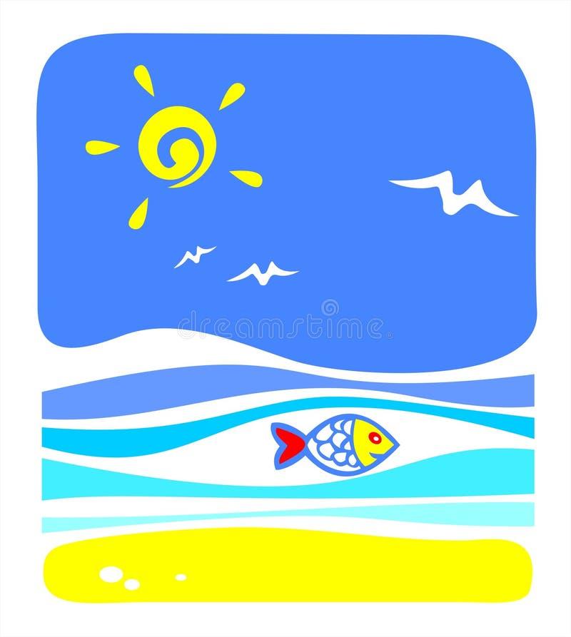 鱼海运 向量例证