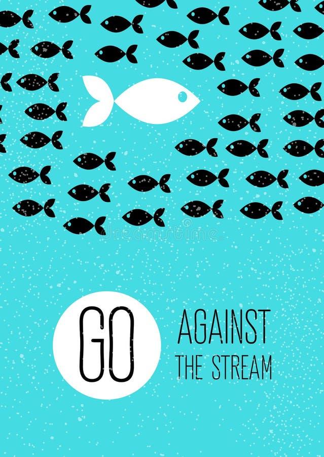 鱼游泳反对小河 蓝色平的海报 库存例证