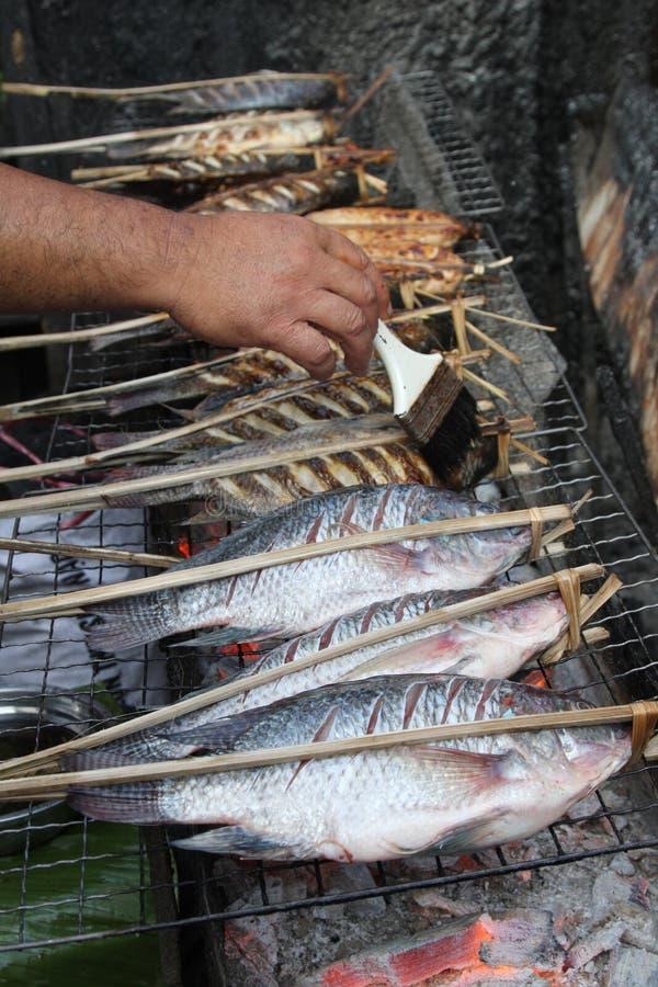 鱼烤老挝市场 库存照片