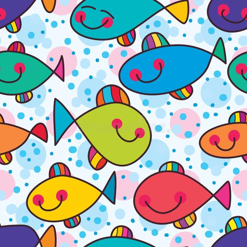 鱼疯狂五颜六色的无缝的样式 向量例证