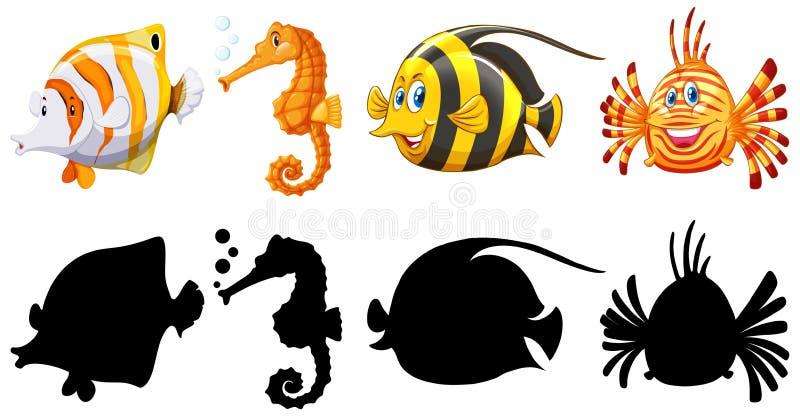 鱼的剪影、颜色和概述版本 皇族释放例证
