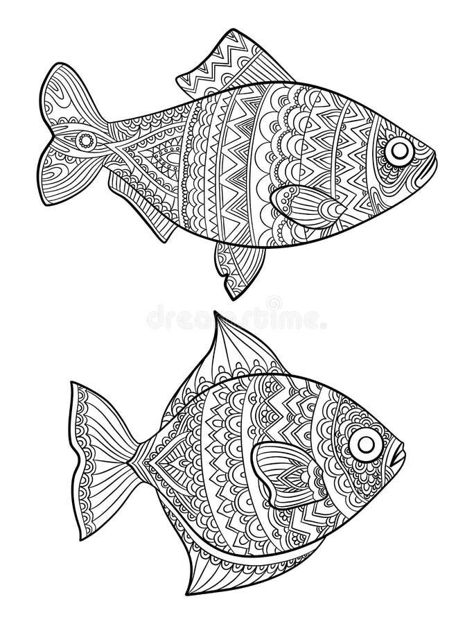 鱼着色页 塑造图画海洋动物成人书线性艺术传染媒介线的图画 向量例证