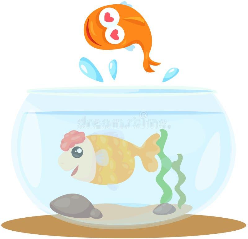 鱼碗 向量例证