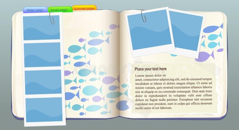 鱼笔记本向量水 皇族释放例证